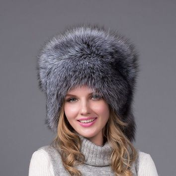 Ushanka Hat 100% Real Fur Silver Fox With Fox Tail Ear Caps Woman Natural Fox Fur Cap Lady's Winter Warm Hats Hairy Cap Hjl 03
