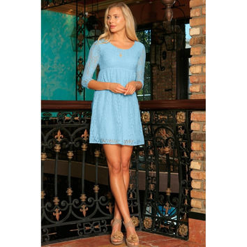 Baby Blue Stretchy Lace Empire Waist Summer Sleeved Dress - Women