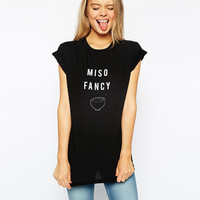 Black Cartoon Bowl Miso Fancy Printed T-shirt