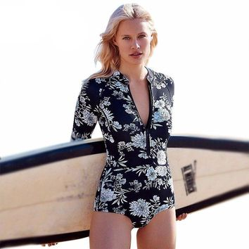 Printed Long Sleeve Swimwear One Piece Swimsuit Front Zipper Bathing Suit Swim Suit For Women Surfing Wetsuit