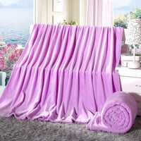 Super Soft Home Blankets Coral Fleece Blanket on The Bed Home Adult Plaid Warm Winter Travel Blanket Purple Portable