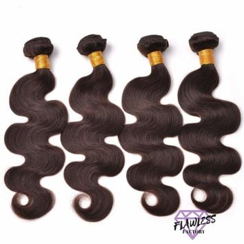 4 Bundles of Dark Brown Brazilian Body Wave Hair Extensions