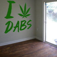 I Heart Dabs Decal Weed Sticker 420 Cannabis Pot Hippy Trippy Decal Set Wall Decal Sticker Bedroom Sticker Wall Art Gift 24""""
