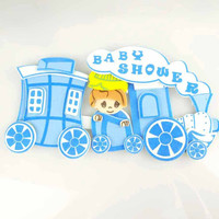 Baby Shower Foam Decor, 4-inch, Choo Choo Train, Light Blue