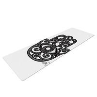 "Hippie Polar Bear ""Hamsa Hand"" Black White Yoga Mat"