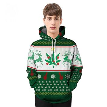 Christmas 2017 autumn and winter new couple costume Christmas tree printing 3D hooded sweater tide brand