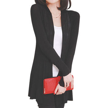 Newest Women Long Sleeve Casual Cardigan Knit Knitwear Sweater Coat Wraps Tops Outwear P16 SM6