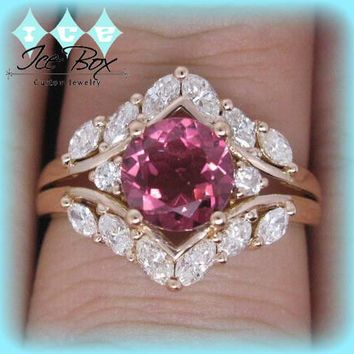 Tourmaline Engagement Ring 1.5ct Round Tourmaline Or Morganite set in an 18k Rose gold Marquise diamond halo setting