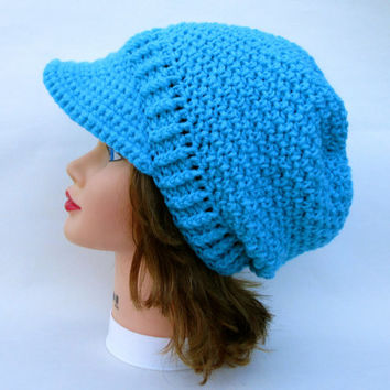 Crocheted Cap - Women's Newsboy Hat - Turqua Beanie With Brim - Slouchy Headwear - Crochet Accessories