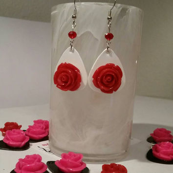 Guitar Pick Jewelry by Betsy's Jewelry - Earrings  - Breast Cancer Awareness  - Pink Ribbon - Fundraiser Item