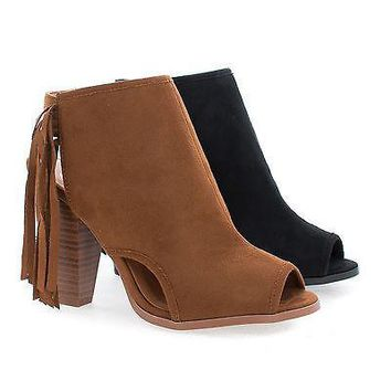 Polite Tan By Delicious, Peep Toe Sling Back Fringe Stacked Block Heel Ankle Bootie