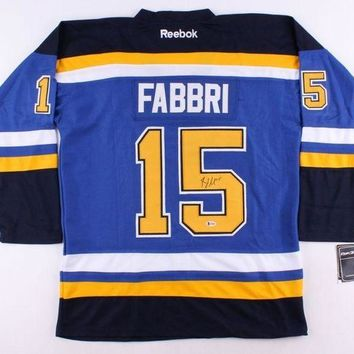 ONETOW Robby Fabbri Signed Autographed St. Louis Blues Hockey Jersey (Beckett COA)