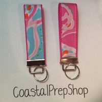 Lilly Pulitzer Jellies Be Jammin Key Fob Wristlet (1.25 inches wide, 9 inches long)