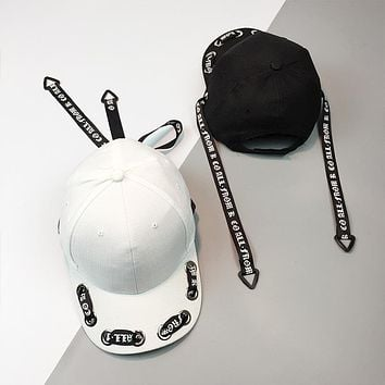 Fashion Personality Hollow Webbing Letter Flat Cap Unisex Hip-hop Baseball Cap Couple Sun Hat