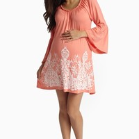 Coral Printed Bottom Bell Sleeve Maternity Dress
