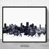 Sacramento Print, Sacramento Skyline, Sacramento California, Office Decor, City Skyline Prints, Skyline Art, Cityscape Art, ArtPrintZone