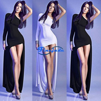 New Women Sexy One Shoulder Long Sleeve Casual Party Cocktail Evening Dress Maxi Dress Black & White Clubwear FineJade = 1956850628