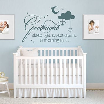 Wall Vinyl Sticker Decals Decor Art Bedroom Design Mural Words Sign Quote Cloud Star Baby Kids Nursery Sweet dreams (z967)