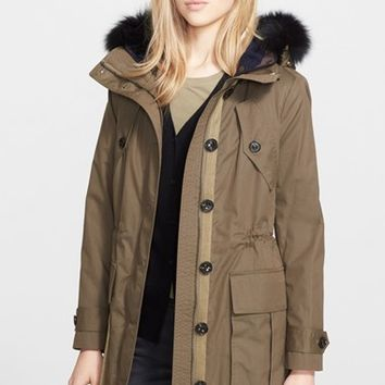 Women's Burberry Brit 'Sebmoore' Genuine Fox Fur Trim Parka with Removable Liner,