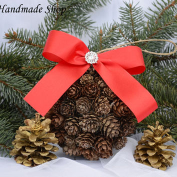 Christmas Ornaments, Christmas Decorations, Rustic Pine Cone Ornaments