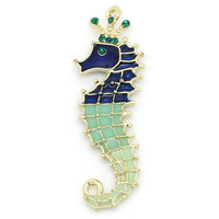 5 Gold Plated Seahorse Charms with Blue and Green Enamel and Rhinestones Pendant Lot