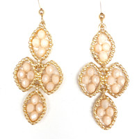 Bead Drop Earrings In Cream