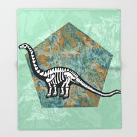 Brachiosaurus Fossil Throw Blanket by Chobopop