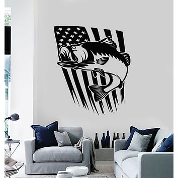 Vinyl Wall Decal Fish Fishing Hobby USA Flag Symbol United States  Stickers Mural (g2541)
