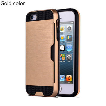 Gold Shock Proof Plastic TPU Hybrid Armor Card Holder Slot Silicone Phone Back Case Cover For Apple iPhone 7 7 Plus 6 Plus 6s Plus 6 6S 5 5S SE