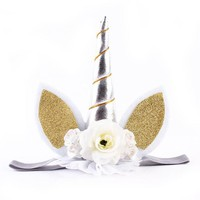 Baby / Newborn Unicorn Headband with Silver Horn, Lace and Flowers with Ears