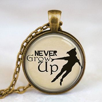 Never Grow Up Peter Pan Quote Pendant Necklace glass 1pcs/lot mens handmade jewelry harry potter dr who chain