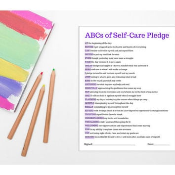 ABCs of Self-Care Pledge (PRINTABLE - INSTANT DOWNLOAD) /// Self Care, Radical Self Love, Wellness, Positive Thinking