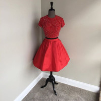 Red Beads A Line Homecoming Dress, Two Piece Homecoming Dress