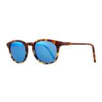 Anto Round Colorblock Mirror Sunglasses, Tortoise/Blue - KYME