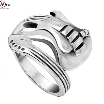 NFS New Fashion Jewelry Stainless Steel Mens Ring Titanium Steel Engraved Guitar Punk Rock Class Silver Rings For Men