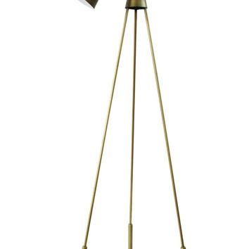 Amato Floor Lamp Gold Galvanized Iron Brass Accents