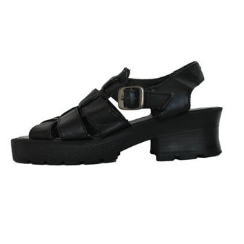 Chunky Platform Sandals Black Vegan Leather 90s Vintage Hipster Goth Footwear Womens Shoes Size 7 1/2