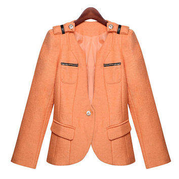 Orange Single Buttone Woolen Jacket