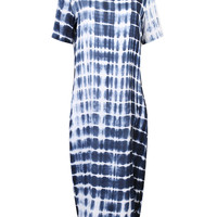 Color Block Tie Dye Stripe Print Split Side Maxi Dress