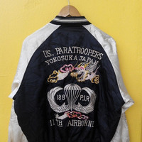 ON SALE 25% Vintage 1980's SUKAJAN Dragon Us Air Force Paratroopers Airborne Japan Army Embroidery Souvenir Satin Bomber Jacket L