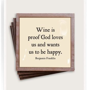 Wine Is Proof Copper & Glass Coasters, Set of 4