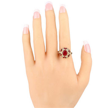 Fashion Casual Retro Resin Rhine Stone Old Gold Ring for Women Best Gift Rings-13