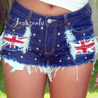 Union Jack flag clothingstudded shortslow rise jeans by Jeansonly