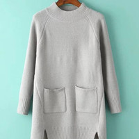 Gray Long Sleeve Knit Dress with Double Pocket