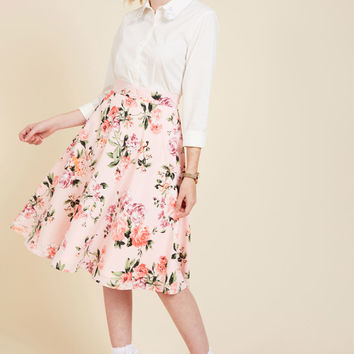 Bugle Joy Skirt in Pink Blossoms | Mod Retro Vintage Skirts | ModCloth.com