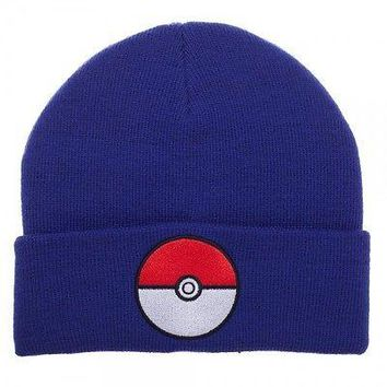 POKEMON POKEBALL BLUE CUFF Knit Beanie Cap Hat (400117)