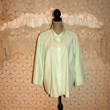 Lime Green Stripe Blouse Spring 3/4 Sleeve Cotton Casual Button Up Women Shirt Summer Talbots Size 22 Size 24 3X Womens Plus Size Clothing