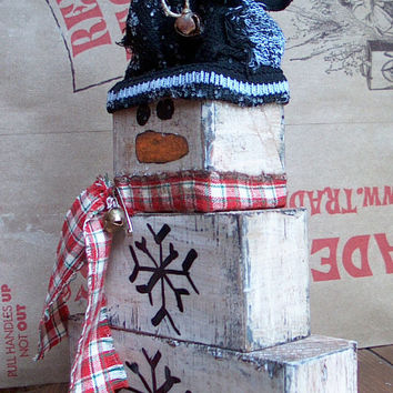 Primitive Prim Doll Snowman Stacker Wood Blocks Set Vintage Inspired Holidays Christmas distressed shelf sitters shelfies rustic Country