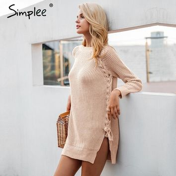 Elegant lace up winter sweater women casual knitting split pullover chic elastic army green jumper