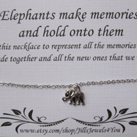 Friendship Necklace, Best Friend Necklace, Elephant Memory Necklace, Charm Necklace, Bridesmaid Gift, Christmas Gift, Lucky Elephant